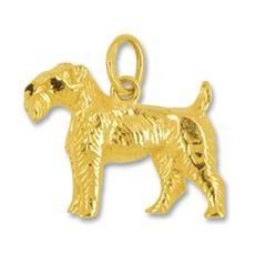 Anhänger Foxterrier, Hund in echt Gelbgold, Charm, Ketten- oder Bettelarmband-Anhänger