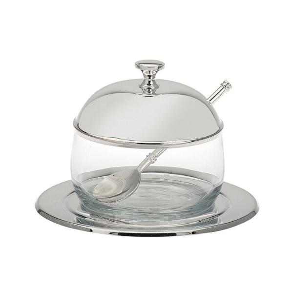 Marmeladen-, Honig-, Senf-, Saucen-Glas, auch für Konfitüren, Gelees mit versilbertem Deckel, Teller und Löffel