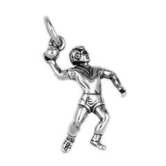 Anhänger Handballspieler in echt Sterling-Silber 925 oder Gold, Charm, Ketten- oder Bettelarmband-Anhänger