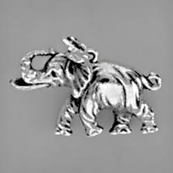 Anhänger Savannen-Elefant in echt Sterling-Silber oder Gelbgold, Charm, Kettenanhänger oder Schlüssel-Anhänger