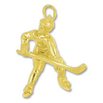 Anhänger, Charm Eishockeyspieler in echt Sterling-Silber 925 oder Gelbgold, Ketten- oder Bettelarmband-Anhänger