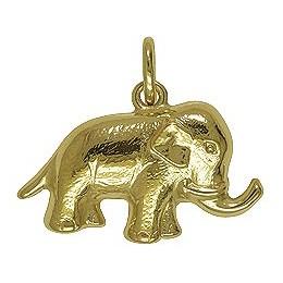 Anhänger Elefant in echt Gelbgold 333, Charm, Kettenanhänger oder Bettelarmband-Anhänger