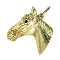 Anhänger Pferdekopf in echt Gelbgold, Charm, Ketten- oder Bettelarmband-Anhänger