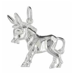 Anhänger Esel in echt Sterling-Silber weiß oder Gelbgold, Charm, Kettenanhänger oder Schlüssel-Anhänger