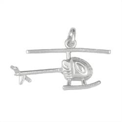 Anhänger Hubschrauber in echt Sterling-Silber 925, Charm, Ketten- oder Bettelarmband-Anhänger