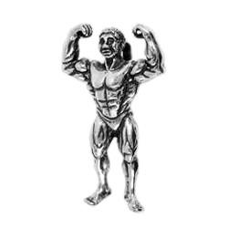 Anhänger Bodybuilding, Bodybuilder in echt Sterling-Silber 925 oder Gold, Ketten- oder Schlüssel-Anhänger
