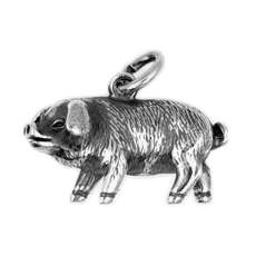 Anhänger Chinesisches Schwein, Tierkreiszeichen in echt Sterling-Silber 925 oder Gold, Charm, Kettenanhänger oder Bettelarmband-Anhänger