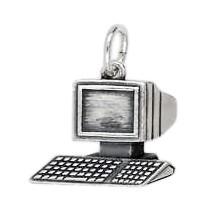 Anhänger Computer in echt Sterling-Silber 925 oder Gold, Charm, Ketten- oder Bettelarmband-Anhänger