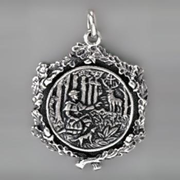Anhänger Jagdmotiv, Jäger mit Hund, Hirsch & Hubertus Kreuz in echt Sterling-Silber 925 oder Gold, Ketten- oder Schlüssel-Anhänger