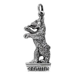 Anhänger St. Gallen, Bär, Charm in echt Sterling-Silber oder Gold, Kettenanhänger oder Bettelarmband-Anhänger