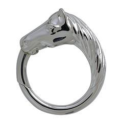 Federring Pferdekopf, Schlüsselring mit Schnappverschluss, Schlüsselmechanik in Silber 925/000 für Anhänger