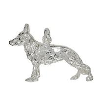 Anhänger Schäferhund in echt Sterling-Silber 925 weiß, Ketten- oder Schlüssel-Anhänger
