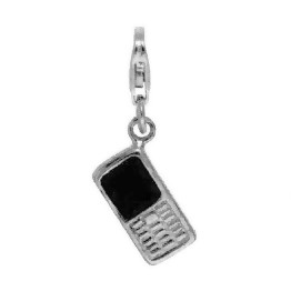 Anhänger Handy, Mobiltelefon in echt Sterling-Silber 925 lackiert, Charm mit Karabiner, hochwertiger Ketten- oder Bettelarmband-Ein-/Anhänger