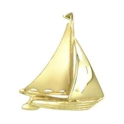 Anhänger Segelschiff, Jolle in echt Sterling-Silber 925 oder Gold, Charm, Ketten- oder Bettelarmband-Anhänger