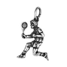Anhänger Tennisspieler in echt Sterling-Silber 925 oder Gold, Charm, Ketten- oder Bettelarmband-Anhänger