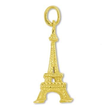 Anhänger Eiffelturm in echt Sterling-Silber 925 oder Gelbgold, Charm, Ketten- oder Bettelarmband-Anhänger