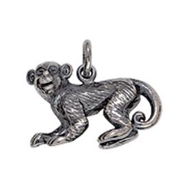 Anhänger Chinesischer Affe in Silber oder Gold, Charm E1381, Ketten-, Schlüssel- oder Bettelarmband-Anhänger