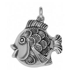 Anhänger Schuppenfisch in echt Sterling-Silber oder Gold, Charm, Kettenanhänger oder Schlüssel-Anhänger