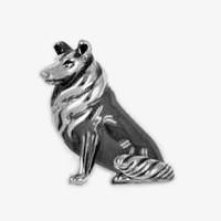 Zierfigur Collie, Hund in echt Sterling-Silber, Standmodell