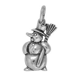 Anhänger Schneemann in echt Sterling-Silber 925 oder Gold, Charm, Ketten- oder Bettelarmband-Anhänger