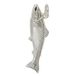 Anhänger Lachs in echt Sterling-Silber weiß oder Gelbgold, Kettenanhänger oder Schlüssel-Anhänger