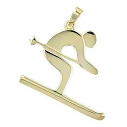 Anhänger Skifahrer in echt Sterling-Silber 925 und Gold, Ketten- oder Schlüssel-Anhänger