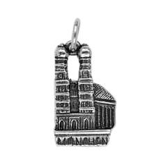 Anhänger München, Frauenkirche in echt Sterling-Silber 925 oder Gold, Ketten- oder Schlüssel-Anhänger