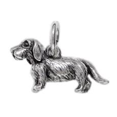 Anhänger Dackel, Hund in echt Sterling-Silber 925 oder Gold, Charm, Ketten- oder Bettelarmband-Anhänger