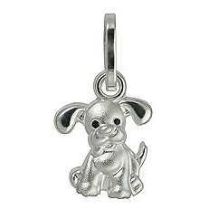 Anhänger Hund in echt Sterling-Silber 925, Charm, Ketten- oder Bettelarmband-Anhänger