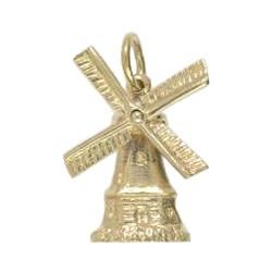 Anhänger Windmühle in echt Sterling-Silber 925 oder Gold, Charm, Ketten- oder Bettelarmband-Anhänger