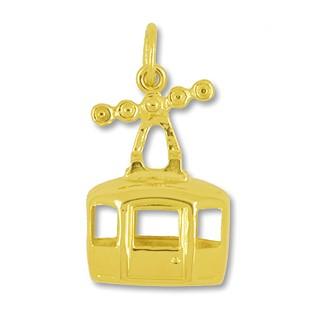 Anhänger Seilbahn-Gondel echt Gold, Charm, Ketten- oder Bettelarmband-Anhänger