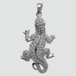 Anhänger Eidechse, Salamander, Gecko in echt Sterling-Silber 925 mit Zirkoniasteinen, Charm, hochwertiger Ketten- oder Bettelarmband-Anhänger