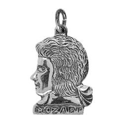 Anhänger Mozart, Kopf in echt Sterling-Silber oder Gold, Charm, Ketten- oder Bettelarmband-Anhänger