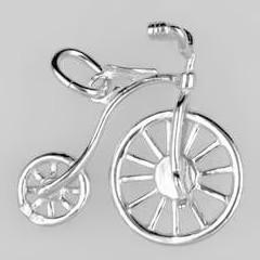 Anhänger Hochrad in echt Sterling-Silber 925, Gold oder vergoldet, Charm, Ketten- oder Bettelarmband-Anhänger