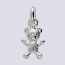 Anhänger Teddybär in echt Sterling-Silber 925, Charm, Ketten- oder Bettelarmband-Anhänger