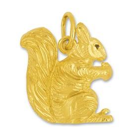 Anhänger, Charm Eichhörnchen in echt Gelbgold 375, 585 oder 750, Kettenanhänger oder Bettelarmband-Anhänger