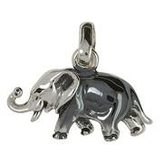 Anhänger Elefant in echt Sterling-Silber 925 teilgeschwärzt oder weiß, Kettenanhänger oder Schlüssel-Anhänger