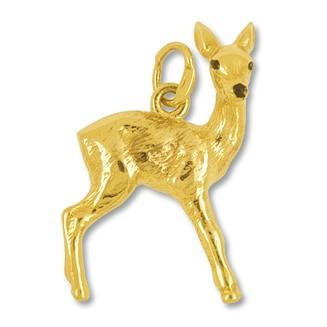 Anhänger Bambi in Silber oder Gold, Charm N1117, Bettelarmband- oder Kettenanhänger