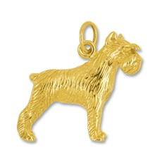Anhänger Riesenschnauzer, Hund in echt Gelbgold 375, 585 oder 750, Charm, Ketten- oder Bettelarmband-Anhänger