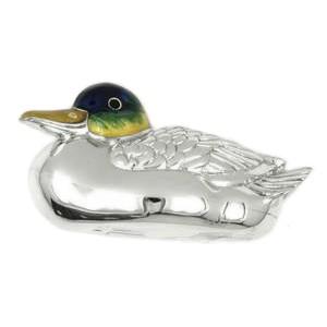 Zierfigur Ente schwimmend in echt Sterling-Silber 925 emailliert