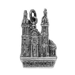 Anhänger St. Gallen, Kathedrale Sankt Gallus und Otmar in echt Sterling-Silber oder Gold, Charm, Ketten- oder Bettelarmband-Anhänger