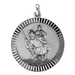 Anhänger Christophorusplakette mit Rand in echt Sterling-Silber 925 oder Gold, Ketten- oder Schlüssel-Anhänger