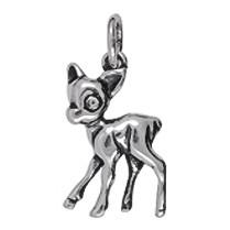 Anhänger Bambi in Silber oder Gold, Charm T362, Kettenanhänger oder Bettelarmband-Anhänger