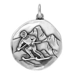 Anhänger Skifahrer, Plakette in echt Sterling-Silber 925, Ketten- oder Schlüssel-Anhänger