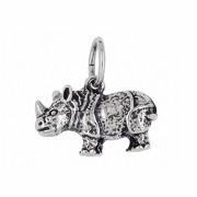 Anhänger Nashorn, Rhinozeros in echt Sterling-Silber 925 oder Gold, Charm, Ketten- oder Bettelarmband-Anhänger