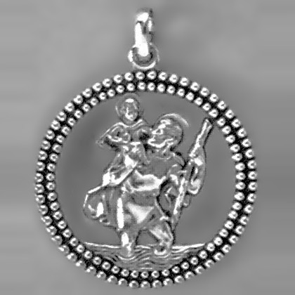 Anhänger Christophorusplakette mit Rand in echt Sterling-Silber 925, Ketten- oder Schlüssel-Anhänger