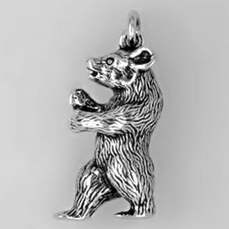 Anhänger Bär stehend in Silber oder Gold, Charm T167, Schlüsselanhänger oder Kettenanhänger
