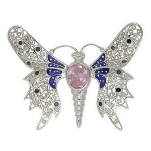 Anhänger Schmetterling, Falter in echt Sterling-Silber 925 emailliert mit Stein, Ketten- oder Schlüssel-Anhänger