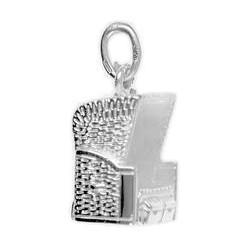 Anhänger Strandkorb in echt Sterling-Silber 925, Charm, Ketten- oder Bettelarmband-Anhänger