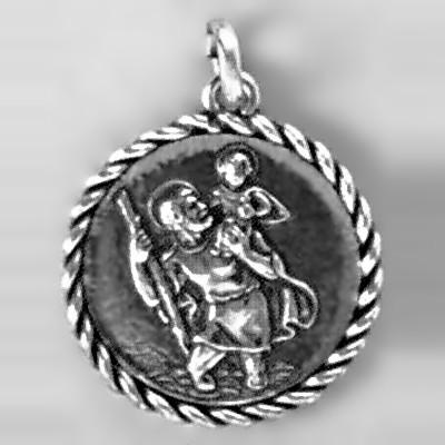 Anhänger Christophorusplakette mit Kordelrand in echt Sterling-Silber 925 oder Gold, Ketten- oder Schlüssel-Anhänger